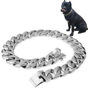 23mm-Stainless-Steel-Silver-Gold-Curb-Bulldog-Big-Dogs-Chain-Choker-Collar