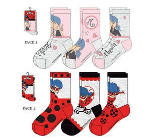 Miraculous-Lady-Bug-Kinder-Socken-3er-Pack-Maedchen-Gr-23-26-27-30-31-34-Neu