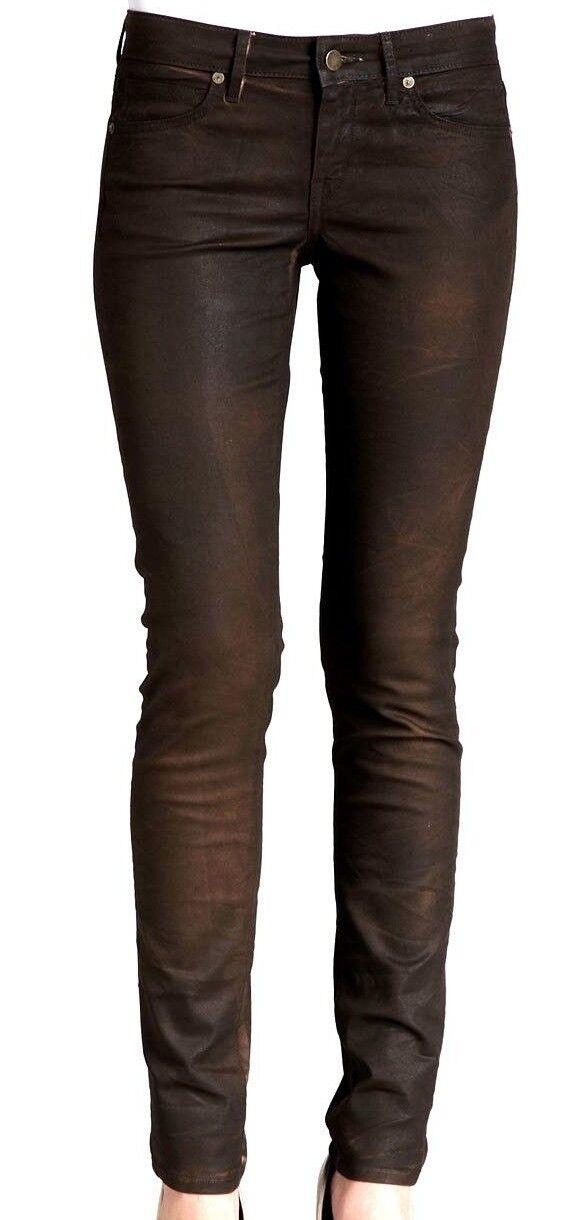 RICH & SKINNY Ladies Slim Fit SKINNY JEANS Coated Denim BROWN Bourbon Trousers