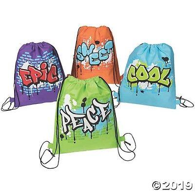 12 Graffiti Drawstring Bags HIP HOP 80/'s BIRTHDAY Party Favors Goody Treat