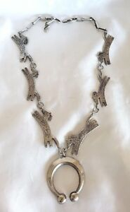 Navajo-Sterling-Silver-Horse-Squash-Blossom-Necklace-by-Ira-Custer-Signed