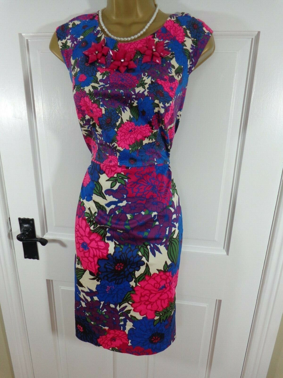 Phase Eight Pink & bluee Floral Cotton Beaded Lined Dress, Perfect Cond
