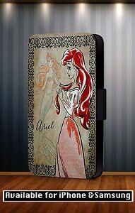 Walt-Disney-Princess-Ariel-Diva-Cartoon-Faux-Leather-Flip-Phone-Case-Cover-Y101