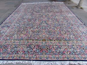 Antique-Traditional-Hand-Made-Vintage-Oriental-Wool-Blue-Large-Carpet-477x341cm