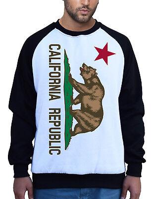 Men/'s California Republic Flag Chest Camo Raglan Sweatshirt Cali Life Bear Dope