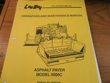 Leeboy Model 8000c Asphalt Paver Operators Amp Maintenance Parts Manual