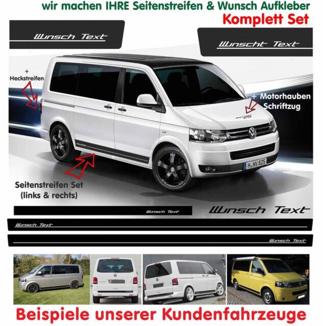 VW Bus T4 T5 WUNSCH TEXT Edition Seitenstreifen Auto Aufkleber Set Schwarz Matt