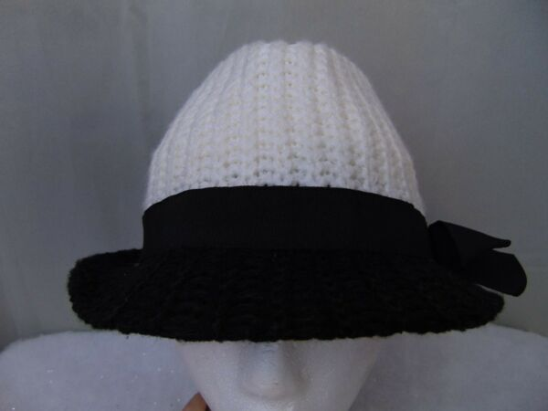 a6c836f0862 BCBGeneration Color Block Knit Bow Accent Fedora Hat Black White OSFM