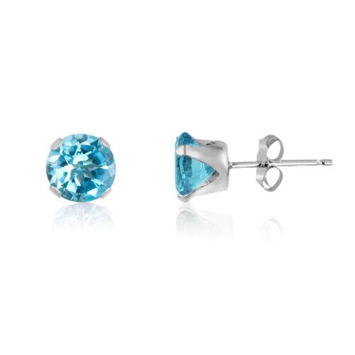 Genuine Sky Blue Topaz Gemstone 925 Sterling Silver  Round Stud Earrings March