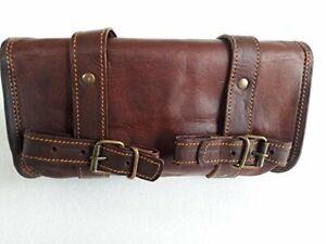 Genuine Leather Vintage Motorcycle 2 strap buckle closure Tool Bag Black