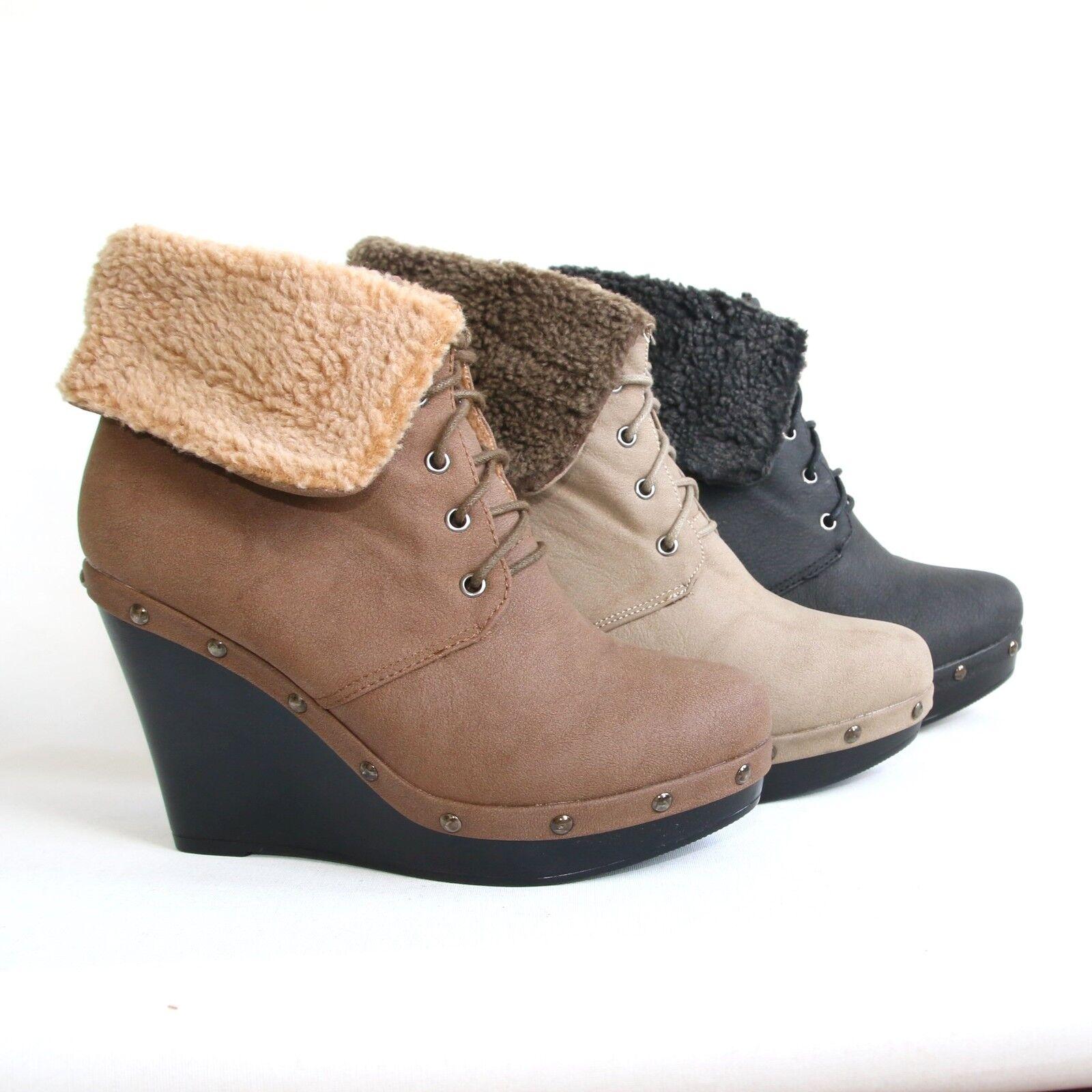 Damen Plateau Stiefeletten Keilabsatz Halbschuhe Wedges Pumps Shoes A-18