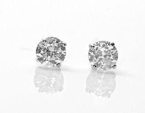 b6819eb8e 0.12Ct Round Cut Diamond Stud Earrings 100% Natural 14K White Gold ...