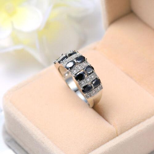 Belle Noir Et Blanc Couleur Onyx Fire Topaz gemstone silver femme SZ 6-10