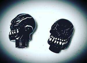 Pair MotoKing Bmx Voodoo Skull Black Valve Caps