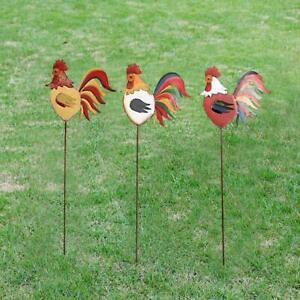 Rooster-Decor-Set-of-3-Metal-Garden-Stake-Yard-Decor-French-Country-Rustic-Decor