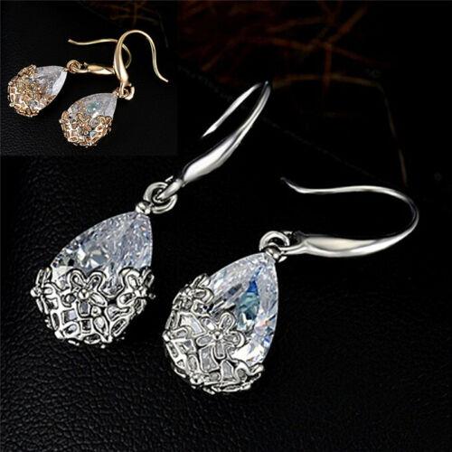Women Zircon Crystal Rhinestone Drop Hook Dangle Earrings Wedding Jewelry JDUK