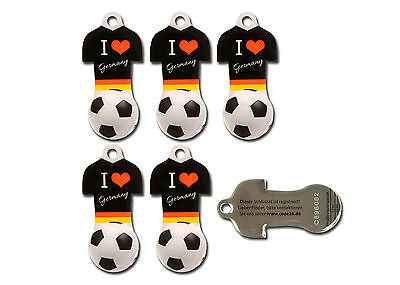 Einkaufswagenchip D Fußballtrikot s Metall 5Stück mit 12 Monaten Schlüsselschutz
