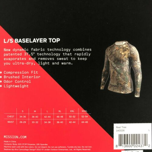 Mission Mens VaporActive Base Layer Long Sleeve Top Warm Realtree Camouflage L