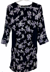 BNWT-Caroline-Morgan-Womens-Black-Floral-Long-Sleeve-Dress-Size-12