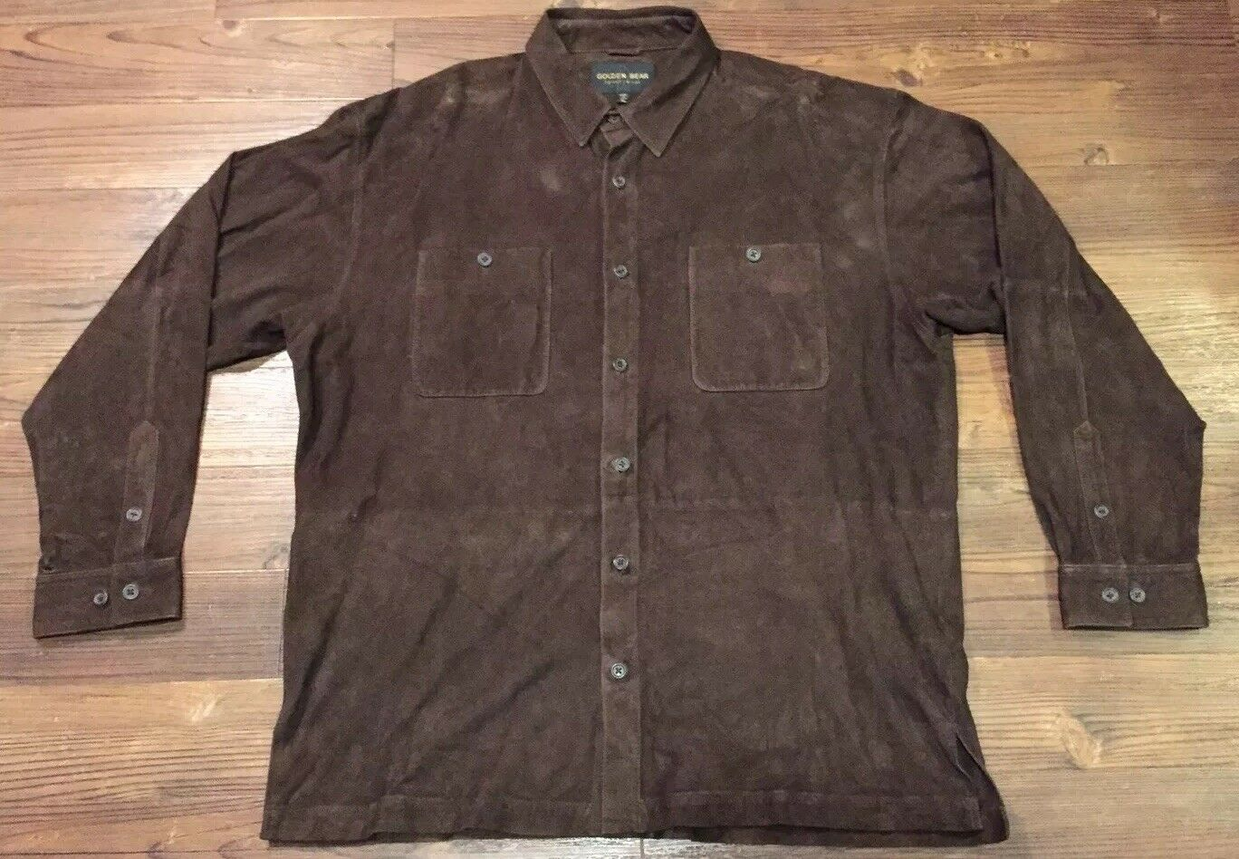 Men's golden Bear Sportswear Brown Genuine Leather Button Up LS Shirt Size XL