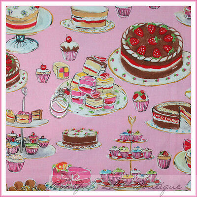 BonEful Fabric FQ Cotton Quilt PINK VTG Tea Birthday Cake Party Bakery Pie Treat
