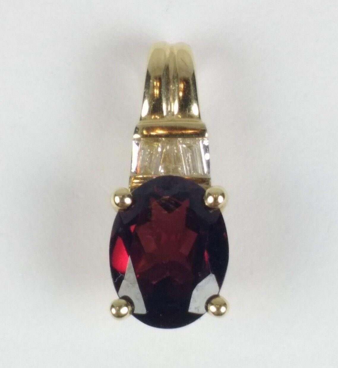 14K Yellow gold Oval Garnet Diamond Accents Slide Pendant 1.87 gm