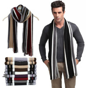 US-Classic-Men-Winter-Warm-Cashmere-Feel-Long-Scarf-Faux-Wool-Soft-Wrap-Shawl-CD