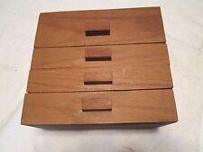 Vintage 4 Drawers Wood Box Cabinet Folk art Pantry Spice Multi use Decor aafa
