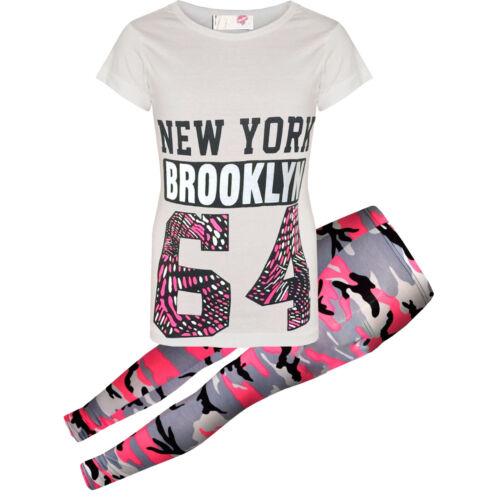 Mädchen New York Camouflage 64 T-Shirt Leggings Set Sommer 2-tlg Outfit Set