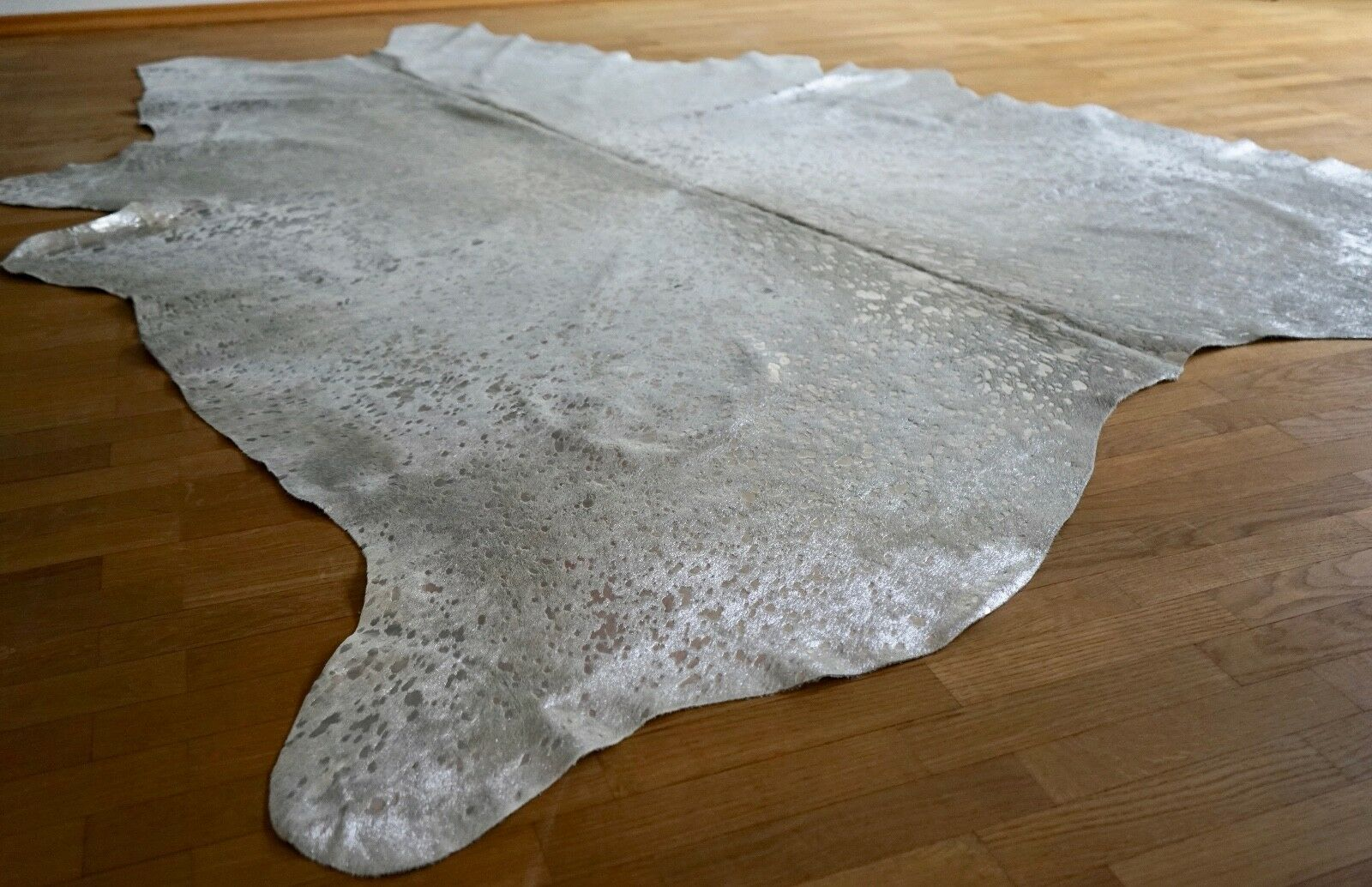 Peau rinderfell Metallic gris clair 190 argent-environ 225 cm x 190 clair cm, Neuf, rug bf6ed1