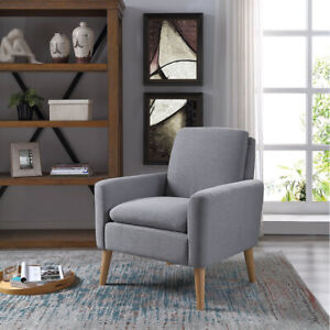 Arm-Chair-Tufted-Back-Fabric-Upholstered-Accent-Chair-Single-Sofa-Wood-Leg-Comfy