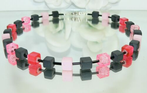 Halskette Kette Perlen Würfel rosa schwarz mehrfarbig Modeschmuck 355d