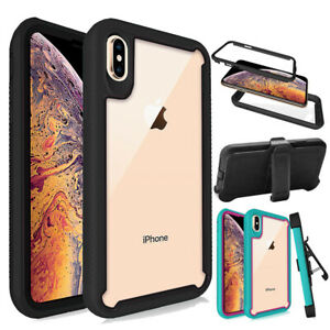 For iPhone X Xs Xr Xs Max, Rugged Bumper Armor Case Shockproof Cover+Belt Clip
