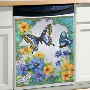 Vintage-Spring-Butterfly-Floral-Kitchen-Dishwasher-Cover-Magnet