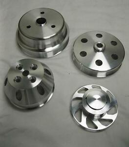Small-Block-Chevy-350-Long-Water-Pump-Serpentine-Aluminum-Pulley-Kit-Set-SBC-4