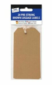 Just Stationery 20 Brown Luggage Labels - Pre Strung 12x6cm With String Retail
