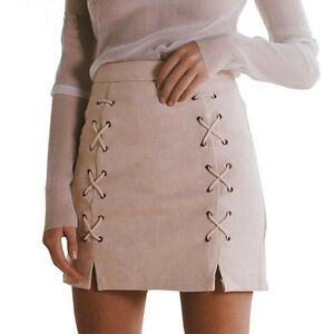 Fashion-Women-039-s-High-Waist-Lace-Up-Suede-Leather-Pocket-Preppy-Short-Mini-Skirt