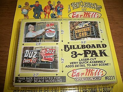 Bar Mills HO/N Scale Laser Cut Billboard 3 Pak #2     # 0231  Bob The Train Guy