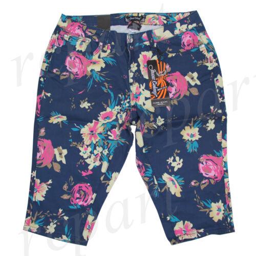 22 Jeans Femmes Bleu Été Colony 14 16 Foncé Floral Capri Neuf 18 20 7qXEwgxd7