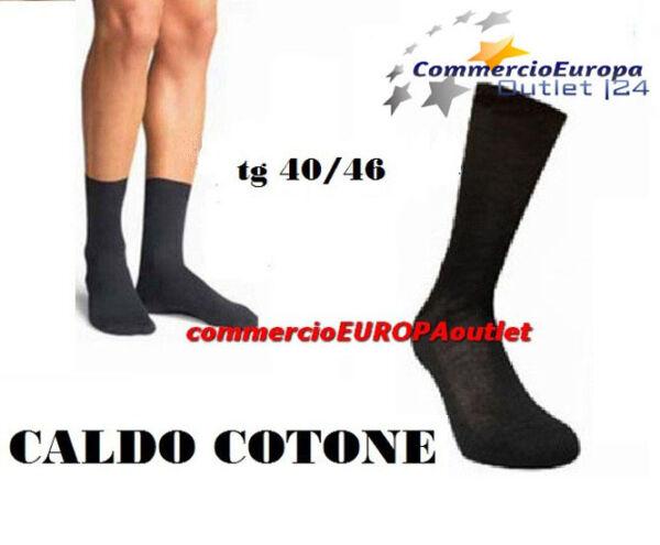 12 Paia Calze Calzini Corti Uomo Neri Caldo Cotone Eleganti Tg 40/46 Men's Tempi Puntuali