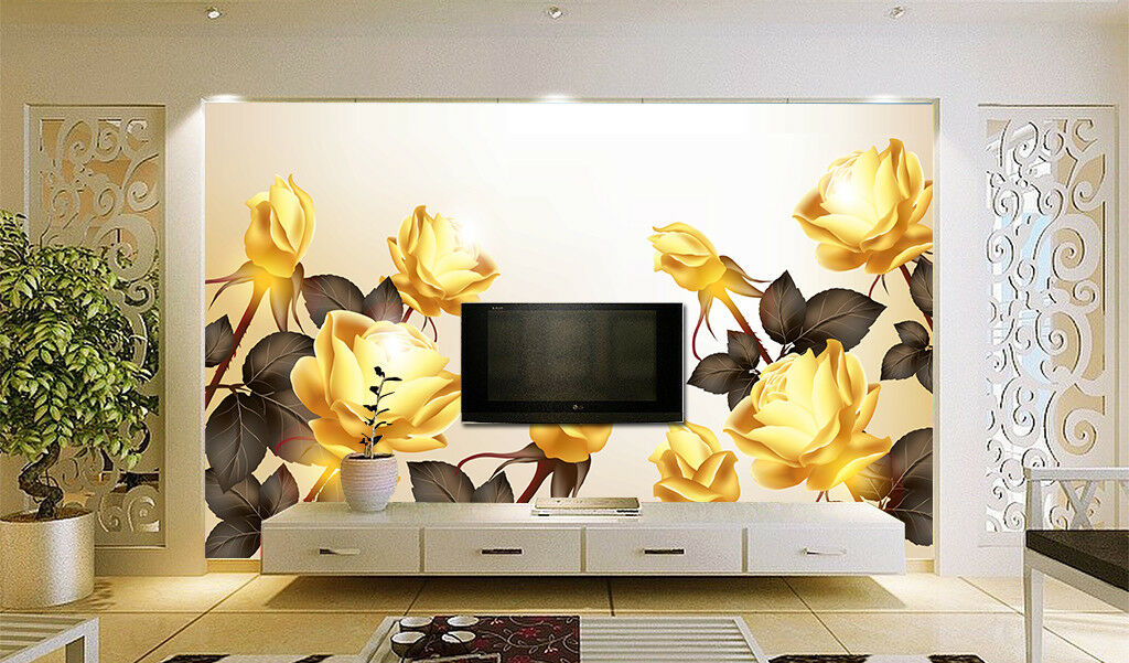 3D Golden Petals 417 Wallpaper Murals Wall Print Wallpaper Mural AJ WALLPAPER UK