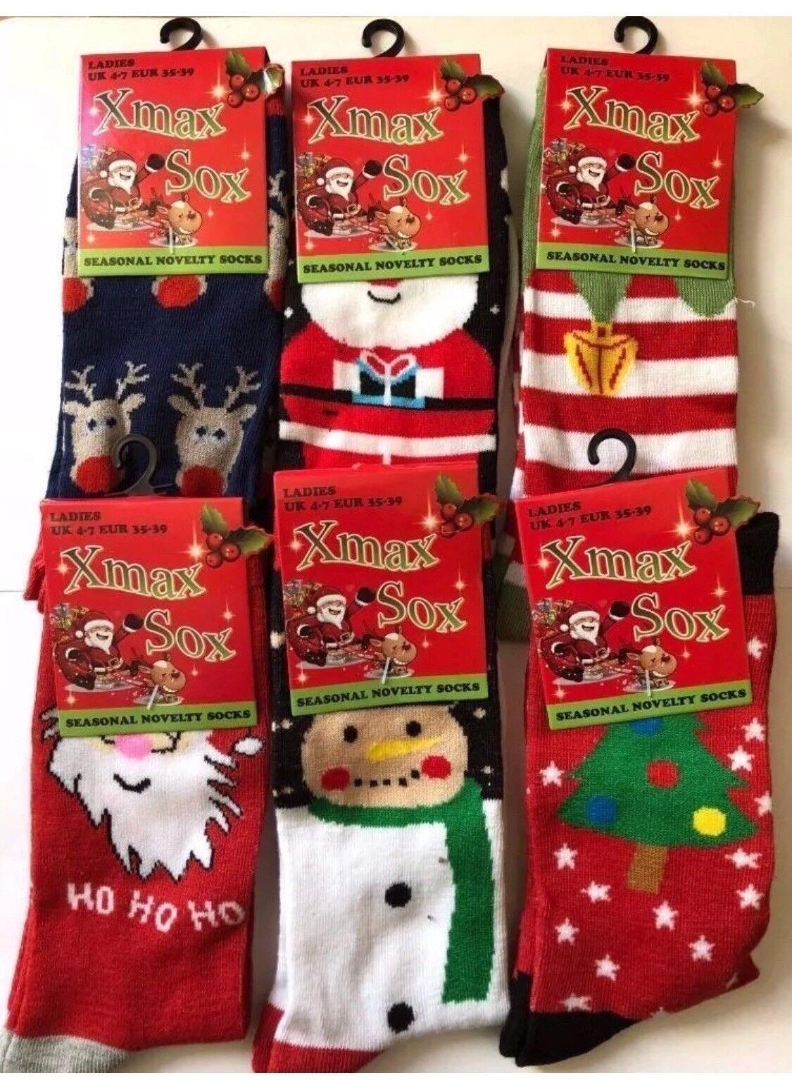 6X Women Kids Girl Christmas Socks Gift Kids Xmas Fashion Funny Socks 4-7