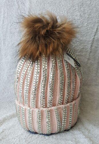 Damen winter mütze,Strick mütze,Echtfell Bommelmütze.mit Strass