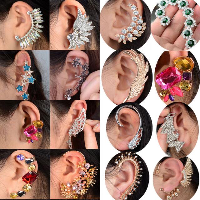 Women Earring Punk Rock Retro Crystal Rhinestone Ear Cuff Warp Clip Stud Hot
