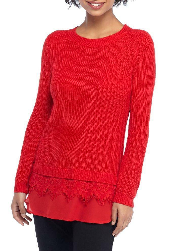 THE LIMITED® XL Goji Berry Lace Two-fer Sweater NWT  89