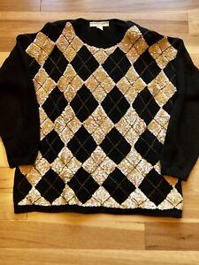 Details about Vintage Sequin Sweater Oversized Argyle 80s 90s Black Embellished Glam Rock