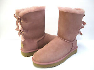 593e6acaa8d Details about UGG BAILEY BOW II WOMEN SHORT BOOTS SUEDE PINK DAWN US 9 /UK  7 /EU 40