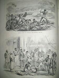 INDE-CIPAYES-SANTALS-JUGEMENT-ESPION-EMEREUR-BAL-A-BORDEAUX-PAON-GRAVURES-1859