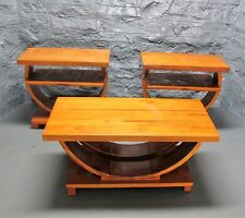 Fine Set of 3 FRENCH ART DECO Fruitwood Side & Center Tables  c. 1920   antique