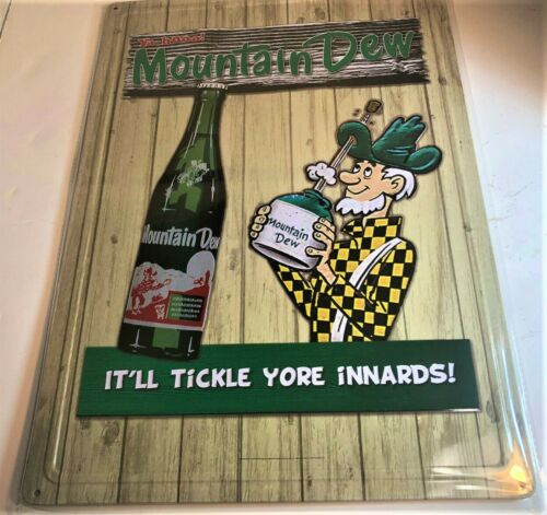 new Mountain Dew Tickle Yore Innards Metal Sign   12x16